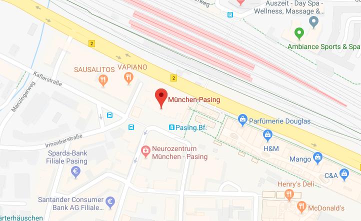 Treffpunkt: S-Bahnhof Pasing, Ausgang Nordseite